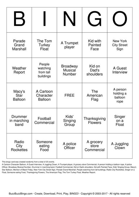 Macy S Gift Card To Paypal - macy s parade bingo bingo cards to download print and customize
