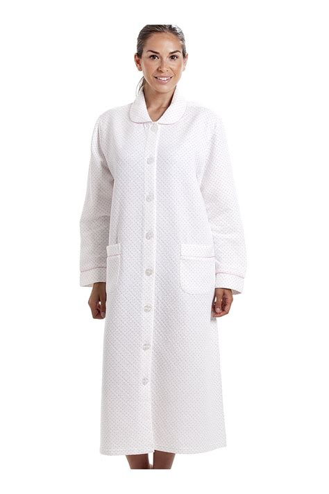 house coats womens white house coat with a pink dot print