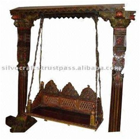 antique wooden swing indian rajasthani jodhpur hand carved wooden swing jhoola