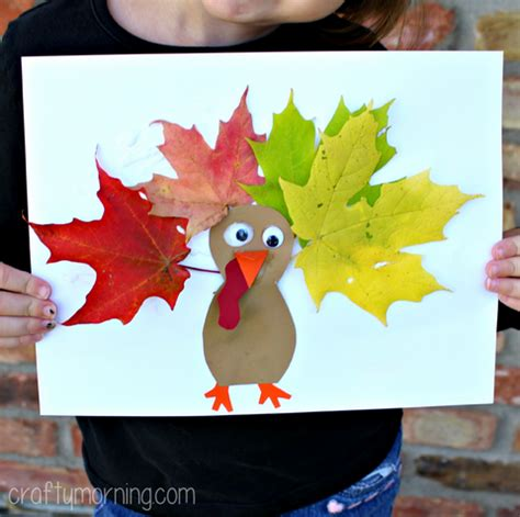 craft projects with leaves leaf turkey craft for crafty morning