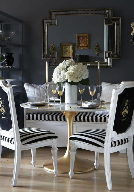 Black And White Dining Room Chairs Black And White Dining Room Eclectic Dining Room The Decorista
