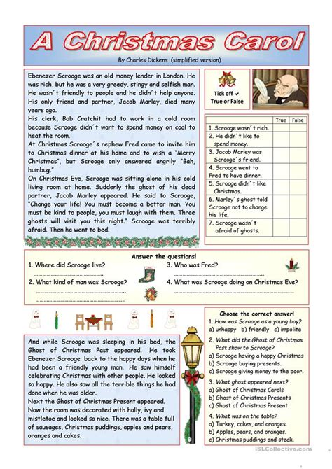 collection of christmas carol worksheets printable quot a christmas carol quot simplified version key included