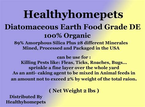 Diatomaceous Earth Food Grade 2 Lb diatomaceous earth food grade 1lb healthyhomepets