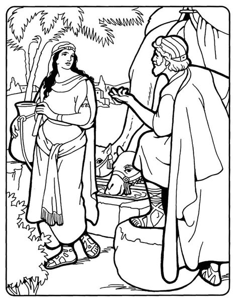 Isaac And Rebekah Coloring Pages rebekah and isaac rebekah at the well bible coloring page coloring pages