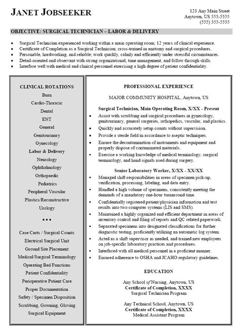 Surgical Resume Resume Sle For Surgical Technician Technologist
