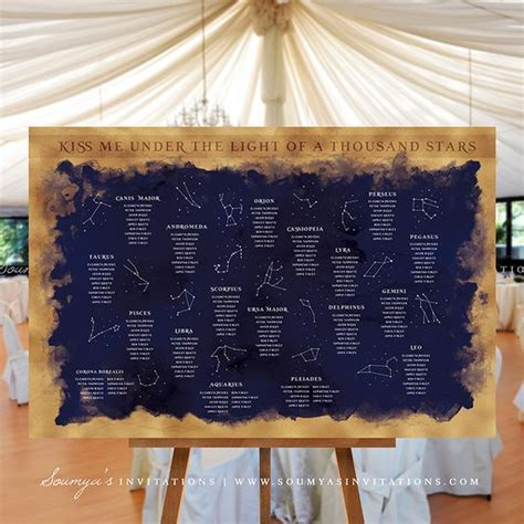 Celestial wedding, Starry night wedding and Seating charts