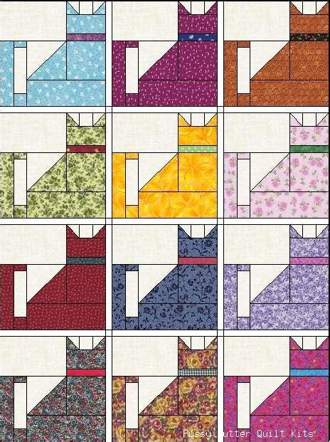 Patchwork Cat Quilt Block Patterns - cat quilt ziggy hideous colors but pattern