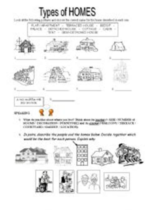 house styles list english worksheet types of homes