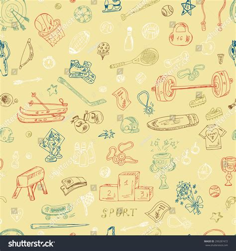 sports seamless pattern of sports equipment hand drawn sports seamless pattern sports equipment hand stock vector