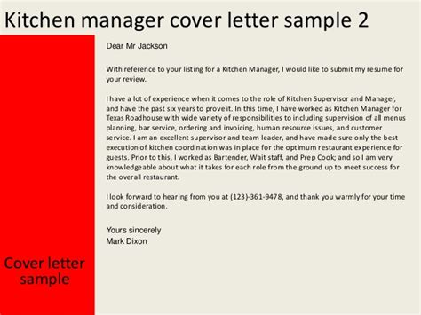 cover letter exles kitchen kitchen manager cover letter