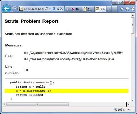 tutorialspoint file handling struts 2 exception handling