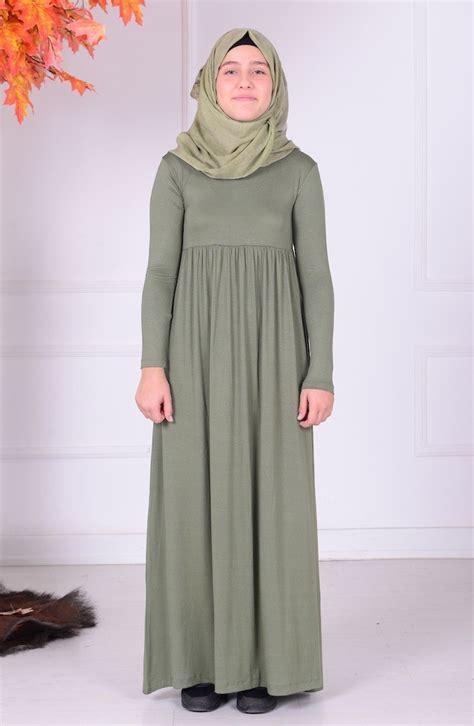 light khaki green young hijab dress