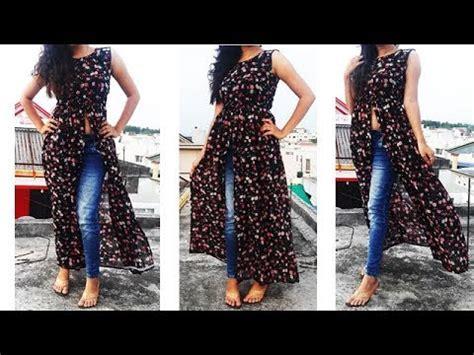 diy designer frontslit gathered maxi kurti long gown maxi
