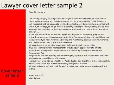 Lawyer Cover Letter Au Lawyer Cover Letter