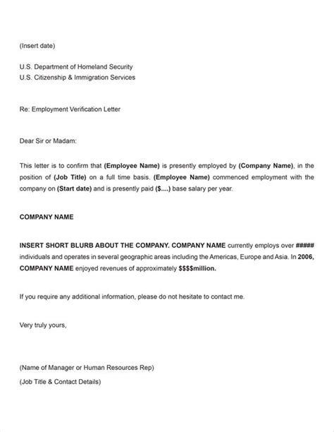 Visa Letter For Employment Company Letter For Us Tourist Visa Application