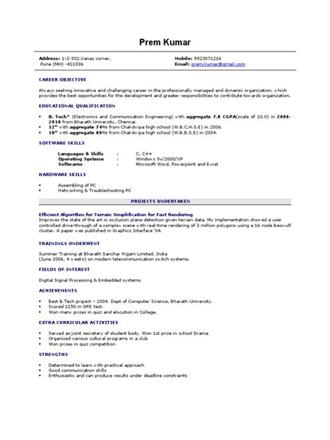 Sle Of Resume Of A Fresher Computer Skills In Resume For Freshers 28 Images The Best Resume For Freshers Engineers