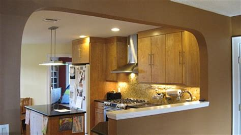 kitchen half wall ideas opening wall between kitchen and living room kitchen view after with arch opening and half