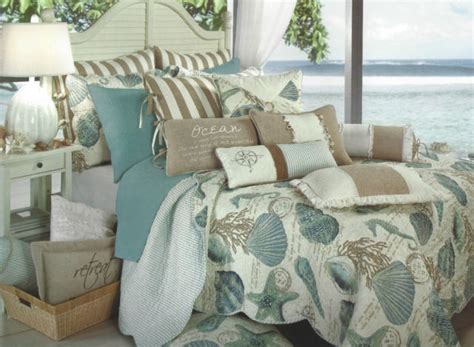 seashore quilt set aqua seashells home and decor
