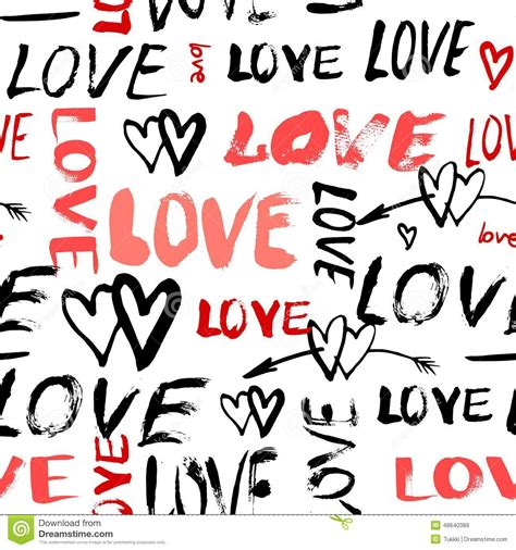 love pattern words pattern with hand painted words love cartoon vector