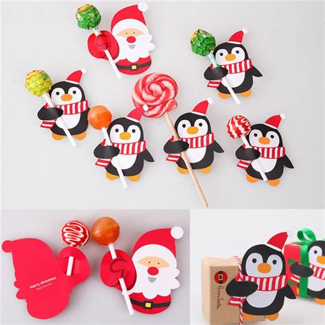 50pcs santa claus penguin lollipop christmas paper card