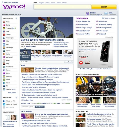 yahoo different layout yahoo homepage re design and your homepage re design