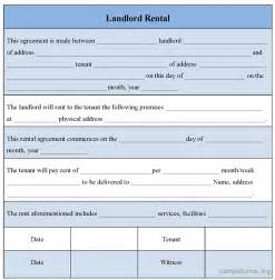 landlords contract template landlord rental form sle landlord rental form sle
