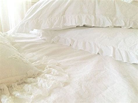 Set Frilled Cover Up shabby chic ruffled duvet comforter quilt cover 3pc set