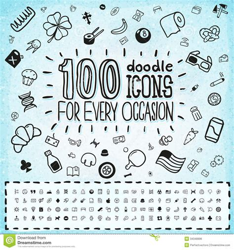 how to create a free doodle 100 doodle icons universal set royalty free stock image
