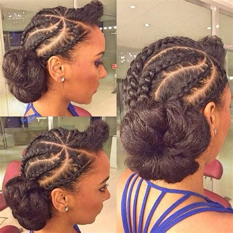 put your hair in a bun with braids put your own remix on the classic cornrow style kinky hair
