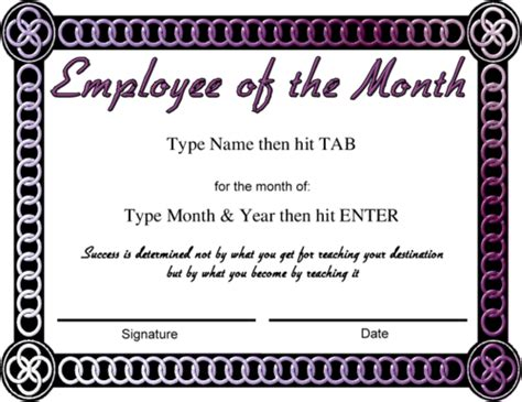 employee of the month certificate template with picture award certificate templates