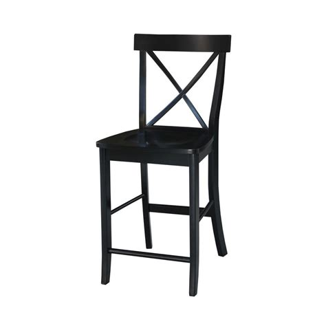 24 quot x back counter stool in black finish cf500424 bk international concepts x back 24 in black bar stool s46