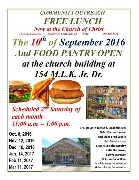 Food Pantry Open On Saturday by Community Outreach Lunch And Food Pantry Open September