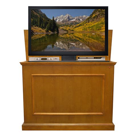 elevate tv lift cabinet elevate honey tv lift cabinet