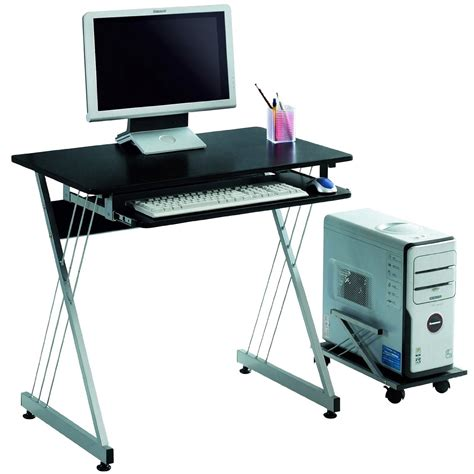 sleek black office computer desk with rollout tray only