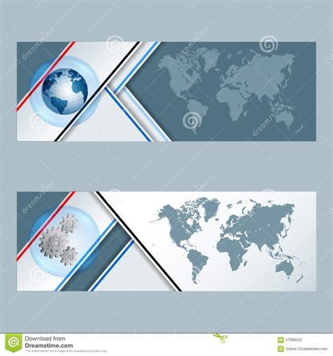 header layout exles set of banners with earth globe cogwheels and world map
