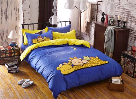 Yellow And Blue Bedding Sets Giraffe Animals Bed Sheets Blue And Yellow Comforter Sets Superman Hello Mario
