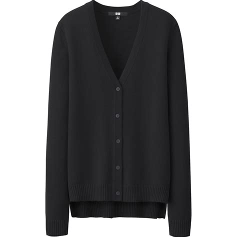 v neck cotton cardigan uniqlo cotton v neck cardigan in black lyst
