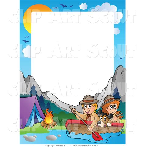 boat border clipart clipart of a boating scouts by a cground frame and