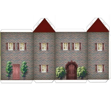 Paper Houses Craft - paper crafts home models green and brick house w