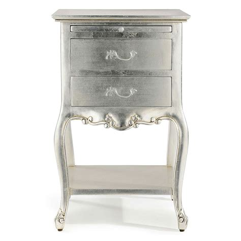 cristal silver leaf bedside table with 2 drawers