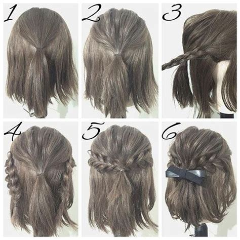 super easy step by step hairstyle ideas fashionsy com half up hairstyle tutorials for short hair hacks
