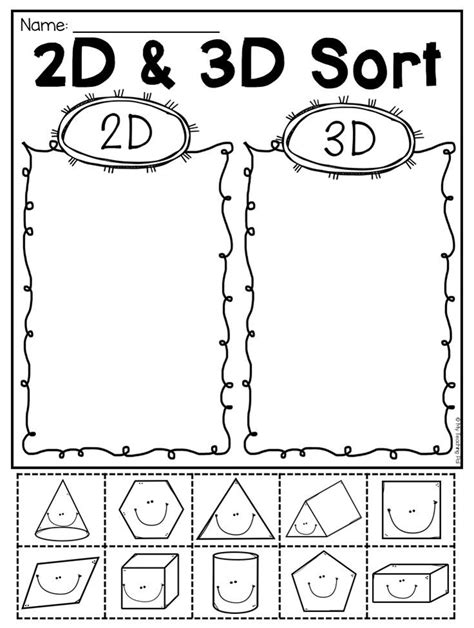 grade 2d and 3d shapes worksheets grade 1 math