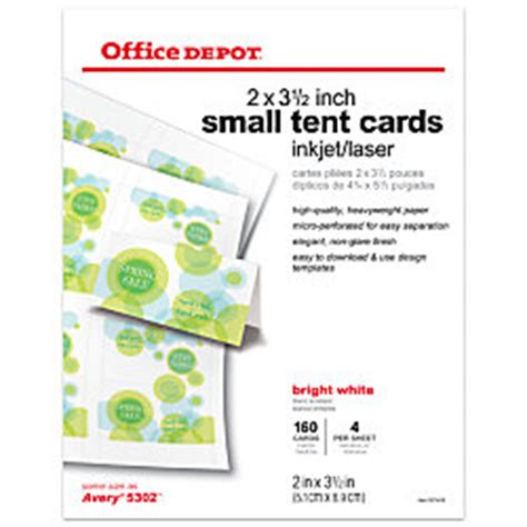 Office Depot Brand Inkjetlaser Tent Cards Small 3 12 X 2 Bright White Pack Of 160 By Office Office Depot Medium Tent Cards Template