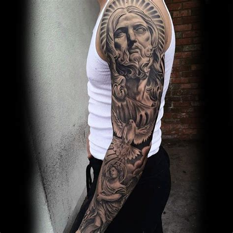 religious sleeve tattoo designs for men 100 religious tattoos for sacred design ideas
