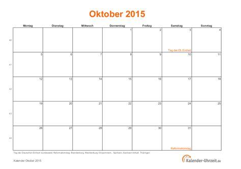 Kalender 2015 Oktober Oktober 2015 Kalender Mit Feiertagen