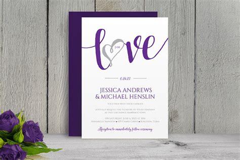 Sle Wedding Invitation Script by Purple And Silver Wedding Invitation Templates Wedding