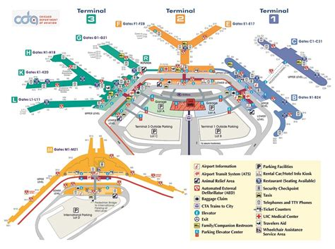 ord airport map accessibility guide chicago o hare international airport
