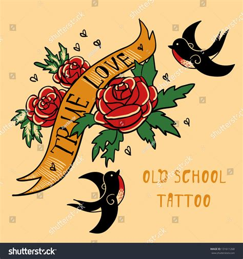 tattoo old school love swallow roses true love old school stock vector 131611268