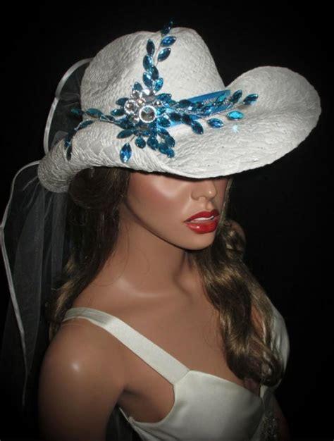 wedding cowboy hats with veils couture white turquoise rhinestone bridal