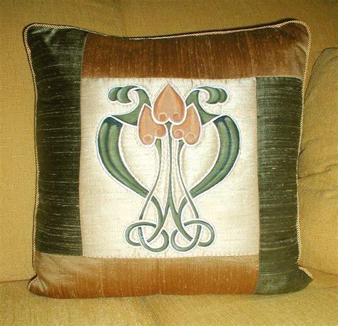 hand crafted art nouveau pillow  schmidt mandell studio